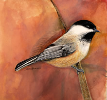 Chickadees Rest Watercolor Painting